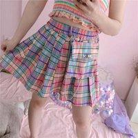 Faldas Harajuku Plaid Mujer Moda Alta Cintura A-Line Pleated Mini Bolsets Cadena Y2K Rainbow Color Uniforme Escolar