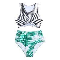Women's Swimwear Two-piece Women Swimsuit Sexy High Waist Leaves Print Camisole Beach Dress Lingerie Set Maillot De Bain Femme Une Pièce 202