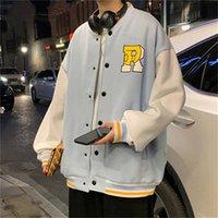 Men's Jackets Jaqueta de beisebol masculina, jaqueta japonesa para homens, com trabalho retalhos, gran tipo r, letra, varsida, harajuku, FN7M