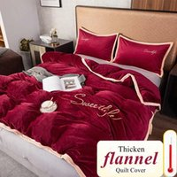 Bedding Sets WOSTAR Solid Flannel Quilt Cover Family Bedroom Luxury King Size Winter Warm Super Soft Cozy Duvet And Pillowcase