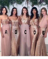 2018 Bridesmaid Dresses Mix-and-Match Blush Pink Chiffon with Rose Gold Sequined Fabric Floor Length Mixture Styles Country Party Gowns 601