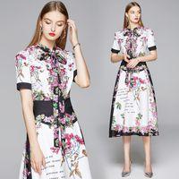Temperament Lady Dress Short Sleeve High End Trend OL Dress Fashion Elegant Womens Printed Dresses Hot New Dresses