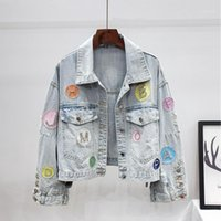 Herbst Mode Franched Short Denim Jacke Mantel Frauen Oberbekleidung Lose Brief Diamanten Patch Design Jeans Jacke Weibliche Streetwear1