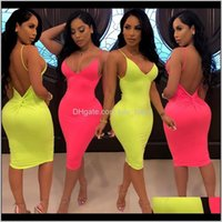 Pink Dresses I1 Drop Delivery 2021 Strap Sexy Basic Party Neon For Women Casual Solid Sleeveless Bodycon Dress Summer Womens Clothing Appare