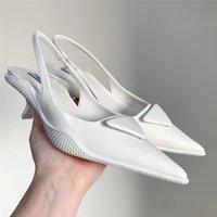 الأحذية النسائية ميلان 2021ss الأسود الصنادل البيضاء لامعة مضخات جلد لامع يجب أن أشار هريرة الكعب العالي