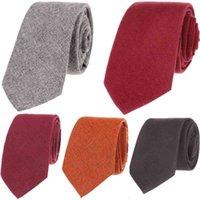 6cm narrow men's high-grade solid color wool tie casual Korean version