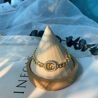 2021 Fashion letter bracelet lock buckle lightweight hook bracelet full of personality hip hop female jewelry