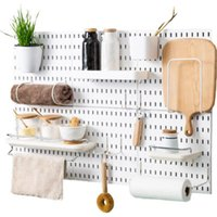 Hooks & Rails Wall Hole Plate Organizer Holder Tool Hanger Storage Rack Kitchen Bathroom Housekeeper Accessory Hanging Home Decor
