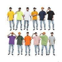 11 colori solido puro cotone magliette oversize uomini e donne o collo o collo allentato casual manica corta T-shirt da estate T-Street Tees