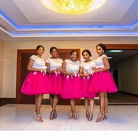 Plus Size Bridesmaid Dresses African Jewel Short Capped Sleeves With Lace Applique Wedding Guest Dresses Back Zipper Knee-Length Party Dress