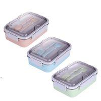 Taşınabilir Bento Kutuları Öğrenci 3 Izgaraları Öğle Yemeği Kutusu Tamamen Mühürlü Gıda 2 Izgaralar Öğle Yemeği Kutusu Ile Termal Öğle Yemeği Kutuları Çatal ve Kaşık DWE9382