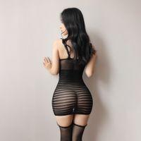 Women Ruffles Spaghetti Straps Lingerie Hot Sexy Backless See-Through Mesh Striped Bodycon Mini Elastic Sling Dress Female Robe