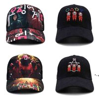 Embroidery Print 2 Style Squid Game Snapbacks Cartoon Ball Hat Red Tracksuit Masked Embroidered Baseball Caps Big Child HHA9343