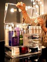 Boîtes de rangement Bins à la poussière Grand maquillage Boîte d'organisateur acrylique Multi-étage Cosmétique Maquillage Maquillage Pinceau