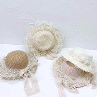 Filles chapeaux enfants chapeaux chapeau chapeau bébé fille enfant accessoires d'été herbe tresse dentelle princesse paille soleil plage mode 3-8y b4853