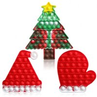 Christmas Gift Smart Brain Popes Toys Fidget ites Simple Dample Keychain Santa Claus Tree Deer Hat Push Popping Ite Silicone Toy