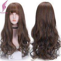 Perucas sintéticas yiyaobess preto roxo cinza ombre peruca com franja marrom destaques longos cabelos ondulados diariamente desgaste mulheres natural peruca
