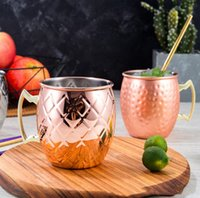 Moscow Mule Mug Stainless Steel Beer Cup Rose Gold Silver Copper Mug Hammered Copper Plated Bar Drinkware Beverage Mugs RRD7708