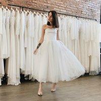 Vintage Classic Design Ankle Length Wedding Dresses Bridal Gowns Strapless A Line Satin Tulle Corset Back Simple 1960s vestido de noiva Custom Size