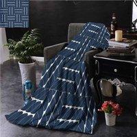 الأزرق الداكن رمي بطانية لسرية شعرية تصميم هندسي النوم السفر الحيوانات الأليفة قراءة W50 XL60 البطانيات