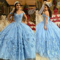 2021 Modest Ball Gown Quinceanera Dresses Light Blue Lace Appliques Beads Hand Made Flowers Sweet 16 Dress For 15 Years Prom Party Pageant Gowns Custom Off Shoulder