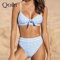 Qeils boog plate push up bikini 2021 hot shop bandjes acolchado alto taille bursuit retro badmode mujeres sexy biquini