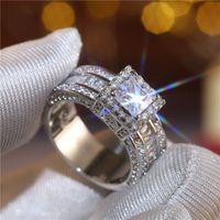925 Sterling Silber Überzogene Ehering Diamant Zirkon Engagement Band Ringe für Frauen Männer Vintage Liebhaber Finger Schmuck Geschenk