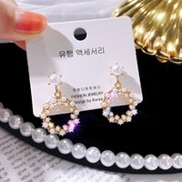 Vintage Style Pearl Earrings Women Simple Fashion Circle Trebster Stud Earrings Cheapest Jewelry Wholesale