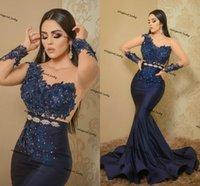 ASO EBI 2021 Arabe Navy Bleu Mermaid Robes de soirée en dentelle Perles De Perles Robe De Perlée Sheer Cou Longue Manches Formel Party Second Robes de réception
