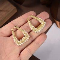Orecchini con ago d'argento 925 con diamanti New Fashion Pearl Ear Ear Priuttamento di alta qualità Orecchini in ottone
