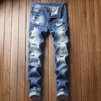 Neue Mann Jeans Blau Klassische Knie Löcher Baumwolle Denim Hosen Mode Hose Cool Jenas Männer