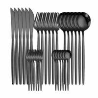 Définit la cuisine, la salle à manger Bar Gardenwestern Couverts 30 pièces Vaisselle Vaisselle en acier inoxydable Vaisselle Noir Spoon Fourche Couteau Dîner Ensemble complet Ho