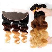 Brasilianische Ombre Human Hair-Erweiterungen mit Ohr EO-Ohr-Spitze-Schließung # 1b 4 27 Haarbündel mit Spitzenfrontal 4 Stück Lot
