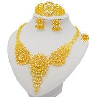 Set di gioielli di colore dorato Dubai per le donne Big Collana Set africano Set africano Gioielli da sposa Italiano Accessori da sposa Orecchini
