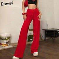 Women's Pants & Capris OrangeA Velvet Y2K Solid Wide Leg High Waist Streetwear Women Vintage Chic Autumn Fashion Fabric Fitness Winter Trous