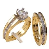 2 adet Gelin Seti Yüzük Lüks Altın Renk Geometrik Şekil Düğün Takı Kadınlar Mikro Açacağı CZ Lady Teklifi Nişan Yüzükleri 826 T2