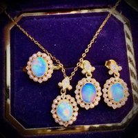 Earrings & Necklace Cute Female Oval Opal Jewelry Set Charm Gold Color Dangle Earring For Women Luxury Crystal Pearl Wedding Ring Chain