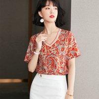 T-shirt Summer Women's Blouse Short Sleeve V-neck Chiffon Tshirt Fashion Trendy Lady Floral Tops Casual Girl Tees