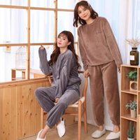 Two Pieces Lounge Wear Pants Set For Women Fleece Warm Casual Sweatsuit Long Sleeve Pullover And Sweatpant 2021 Winter Outfits Women's Track