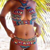 Women Bandage Bikini Set 2pcs Push-up Print Beach Swimsuit Sexy Bandeau Padded Bra Bathing Suit Swimwear Biquini