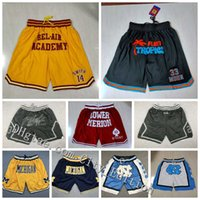 NCAA Just Don Basketball Shorts Hip Pop Sport Wear Zipper Pant With Pocket Authentic Stitched Classic Mesh Fashion Sweatpants CY0405