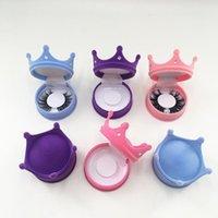 Crown-Diamant-Wimpern-Verpackungsbox leeres Rosa blaues Mink-Kasten 3D für reguläre Länge Wimpern