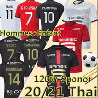 2020 2021 Maillot Rennes Jerseys de futebol 120th aniversário Stade Rennais Camavinga Bourigeud Niang da Silva Men Kit Kit Camisas de futebol