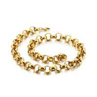 """Conception de couleur argentée / or doré link link rolo chaîne hommes collier ou bracelet 1pcs unisexe bijoux 7-40 """"8mm de large"""
