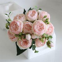 5 머리 인공 실크 로즈 꽃 무리 식물 꽃다발 가짜 가정 결혼식 장식 가든 플로랄 사무실 침실 파티 610 S2