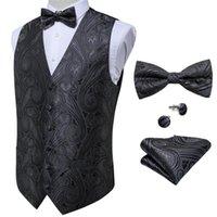 Men's Vests Classic Gray Waistcoat Barry.Wang Silk Vest Party Wedding Paisley Jacquard Handkerchief Bow Tie Cufflinks Set DiBanGu