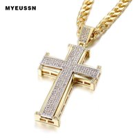 Pendant Necklaces Bling Cross Iced Out Black White Crystal Charm Gold Color Chain Men Necklace Father's Day Gift Hip Hop Jewelry