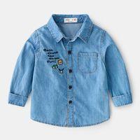 Shirts Baby Boy Denim Shirt Kid Long Sleeve Tops Spring Autumn Jeans Casual Kids Blouse BC871
