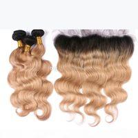 Honig blonde Ombre Body Wave Wellenförmige Haarbündel mit Spitze Frontal Two Tone 1b 27 Ohr zu Ohr Frontal mit Körperwellenhaar