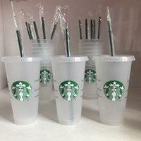 DHL Starbucks 24oz / 710ml 플라스틱 텀블러 재사용 가능한 클리어 마시는 플랫 컵 기둥 모양 뚜껑 짚 머그잔 Bardian 10 PCSL